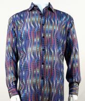 Full Cut Long Sleeve Fuschia Houndstooth Fashion Shirt