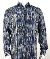 Full Cut Long Sleeve Blue Houndstooth Fashion Shirt