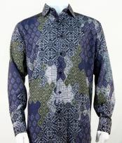 Full Cut Long Sleeve Floral Pattern Navy Fashion Shirt