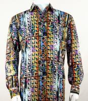 Full Cut Long Sleeve Multi Blue Fashion Shirt