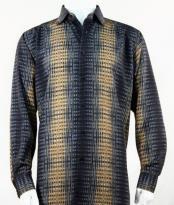 Full Cut Long Sleeve Pattern Stripe Bronze Fashion Shirt