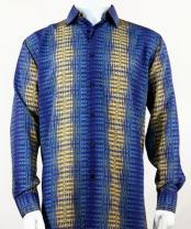 Full Cut Long Sleeve Pattern Stripe Blue Fashion Shirt