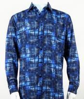 Full Cut Long Sleeve Pattern Blue Fashion Shirt