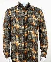 Full Cut Long Sleeve Copper Pattern Fashion Shirt