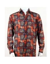 Full Cut Long Sleeve Orange Pattern Fashion Shirt