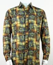 Full Cut Long Sleeve Gold Pattern Fashion Shirt
