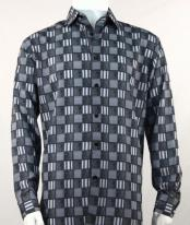 Full Cut Long Sleeve Squares Print Black Fashion Shirt