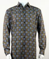 Full Cut Long Sleeve Squares Print Bronze Fashion Shirt