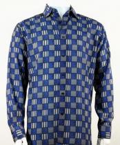 Full Cut Long Sleeve Squares Print Royal Fashion Shirt