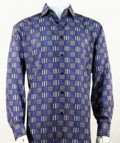 Full Cut Long Sleeve Squares Print Purplel Fashion Shirt