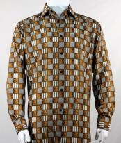 Full Cut Long Sleeve Squares Print Copperl Fashion Shirt
