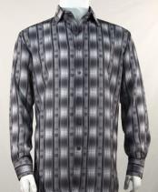 Full Cut Long Sleeve Pattern Stripe Black Fashion Shirt