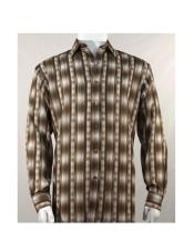 Full Cut Long Sleeve Pattern Stripe Brown Fashion Shirt
