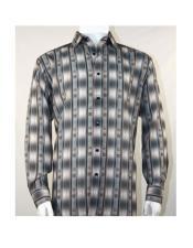 Full Cut Long Sleeve Pattern Stripe Gray Fashion Shirt
