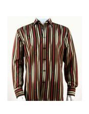 Full Cut Long Sleeve Pattern Stripe Red ~ Gold