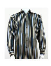 Full Cut Long Sleeve Multi Stripe Pattern Green Fashion