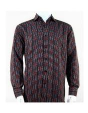 Full Cut Long Sleeve Mini Dots Burgundy Fashion Shirt