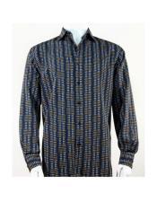 Full Cut Long Sleeve Mini Dots Blue Fashion Shirt