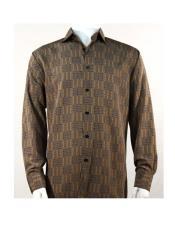 Full Cut Long Sleeve Mini Dots Brown Fashion Shirt