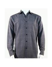 Full Cut Long Sleeve Mini Dots Gray Fashion Shirt