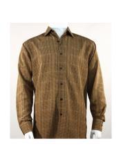 Full Cut Long Sleeve Mini Dots Bronze Fashion Shirt