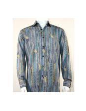 Full Cut Long Sleeve Oval Stripe Turquoise Fashion Shirt