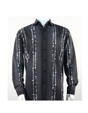 Full Cut Long Sleeve Varied Pattern Fashion Black Shirt