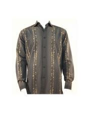 Full Cut Long Sleeve Varied Pattern Brown ~ Gold