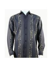 Full Cut Long Sleeve Varied Pattern Black ~ Tan