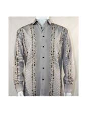 Full Cut Long Sleeve Varied Pattern Brown Fashion Shirt