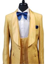 Mens 1 Button Gold Paisley Dinner