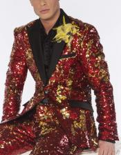 Mens Red and Gold Sequin Cheap Blazer ~ Suit
