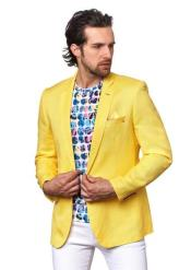 Mens  Yellow Mens 2 Piece Linen Causal Outfits
