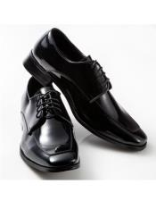 mens Black Lace Up Moc Square