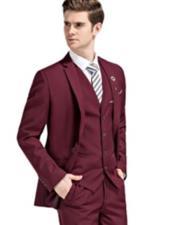 Slim Fit Suit Burgundy Notch Lapel