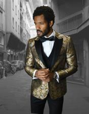 Single Breasted Peak Label Gold ~ Silver Tuxedo Suit