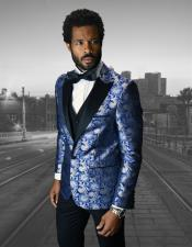 Single Breasted Peak Label Royal Blue Suit For Men