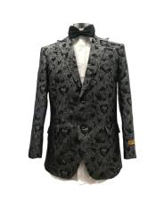 Black Peak Lapel Two Button Suit
