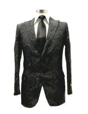 mens Black Floral Satin Shiny Fashion