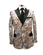 Floral Satin Shiny Fashion Blazer Dinner Jacket Paisley Sport