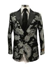 mens Black Floral Paisley Fancy Party