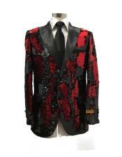 mens Single Breasted Peak Label Black/Red