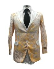 mens White/Gold Flashy Stage Fancy Party