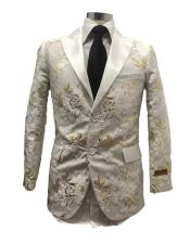 mens White/Gold Paisley Fancy Party Peak