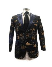 mens Black/Gold Flashy Stage Paisley Sport
