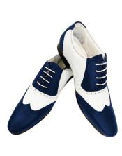 Navy Cushioned Insole Leather Two Toned  Wing Tip