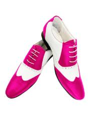 Pink Cushioned Insole Leather Two Toned Wing Tip Shoe