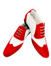 Red Two Toned Four Eyelet Lacing Leather Shoe