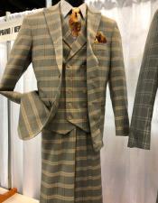 Vintage Plaid ~ Windowpane Vested Suit 3 Pieces Regular