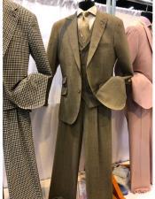 pocket two button peak lapel brown suit